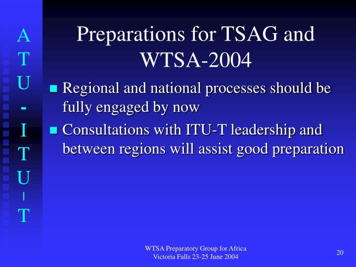 Preparations for TSAG and WTSA-2004