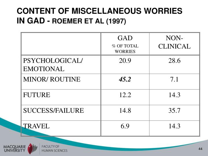 CONTENT OF MISCELLANEOUS WORRIES IN GAD -