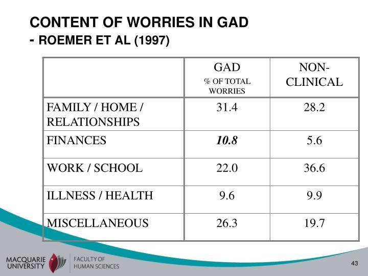 CONTENT OF WORRIES IN GAD