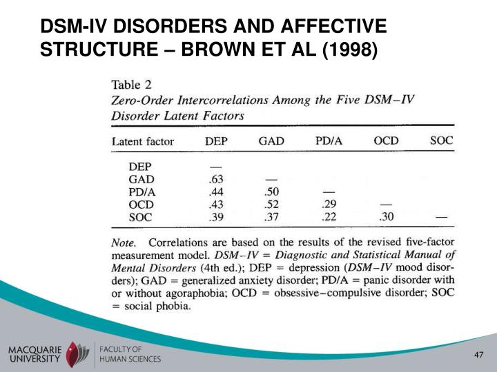 DSM-IV DISORDERS AND AFFECTIVE STRUCTURE – BROWN ET AL (1998)