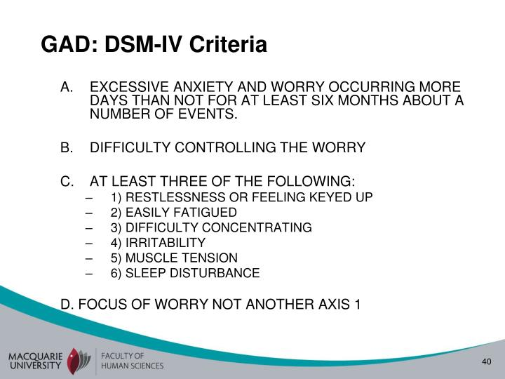 GAD: DSM-IV Criteria