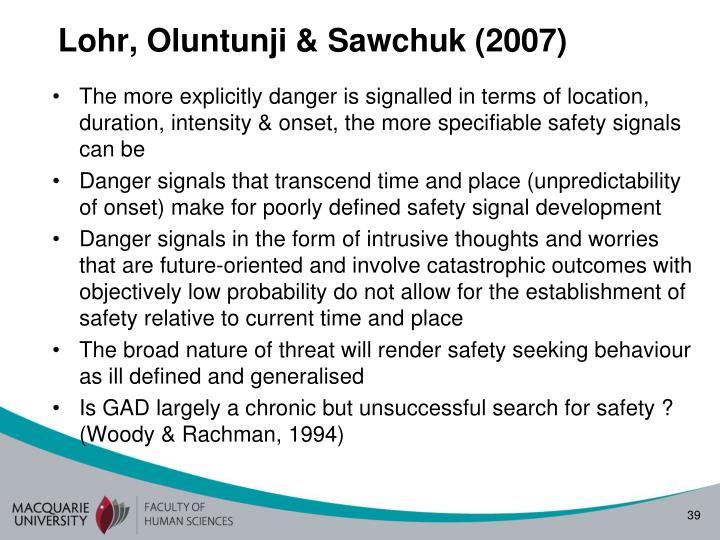 Lohr, Oluntunji & Sawchuk (2007)