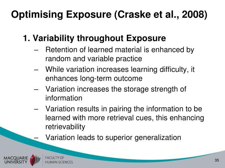 Optimising Exposure (Craske et al., 2008)