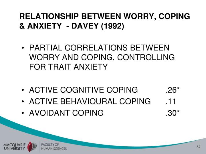 RELATIONSHIP BETWEEN WORRY, COPING & ANXIETY  - DAVEY (1992)