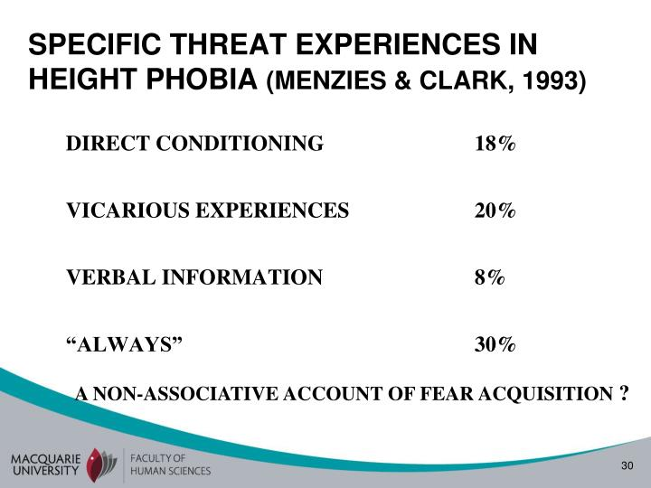 SPECIFIC THREAT EXPERIENCES IN HEIGHT PHOBIA