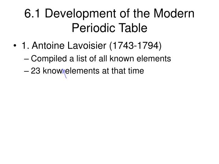 6 1 development of the modern periodic table