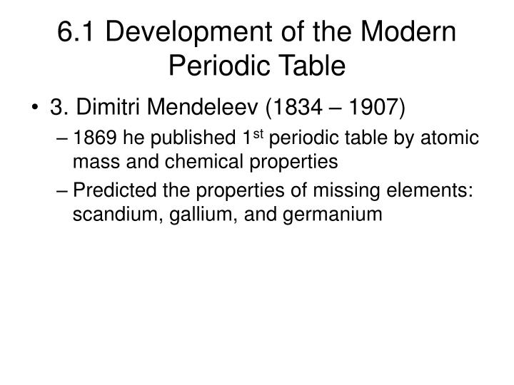 6.1 Development of the Modern Periodic Table