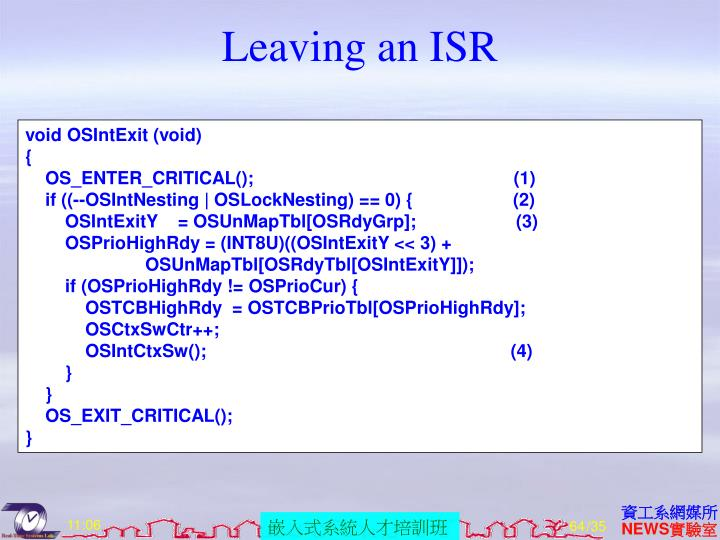 Leaving an ISR