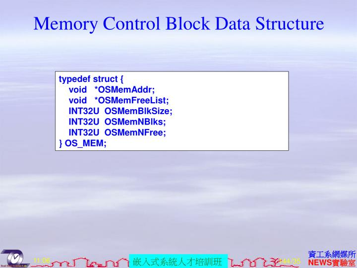 Memory Control Block Data Structure