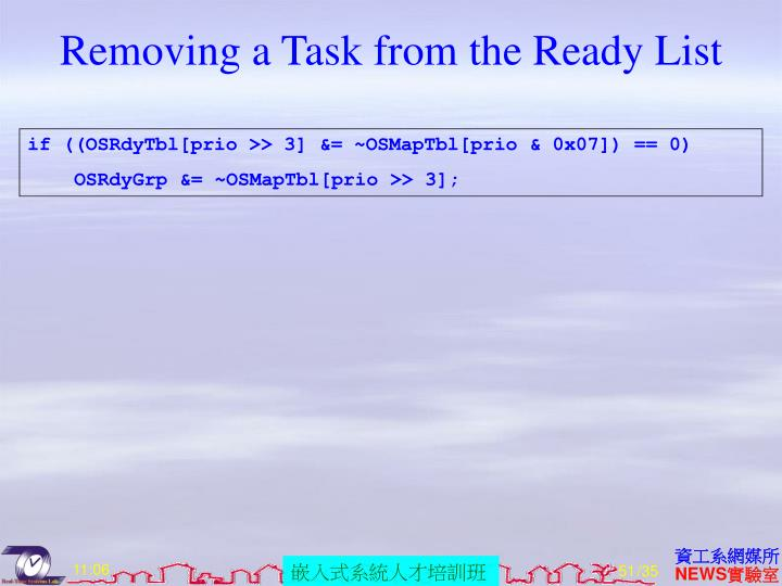 Removing a Task from the Ready List