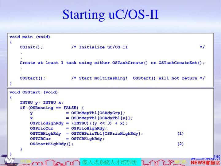 Starting uC/OS-II