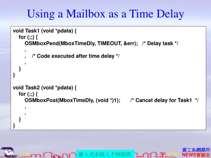 Using a Mailbox as a Time Delay