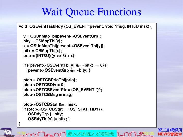 Wait Queue Functions