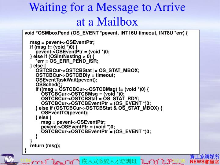 Waiting for a Message to Arrive