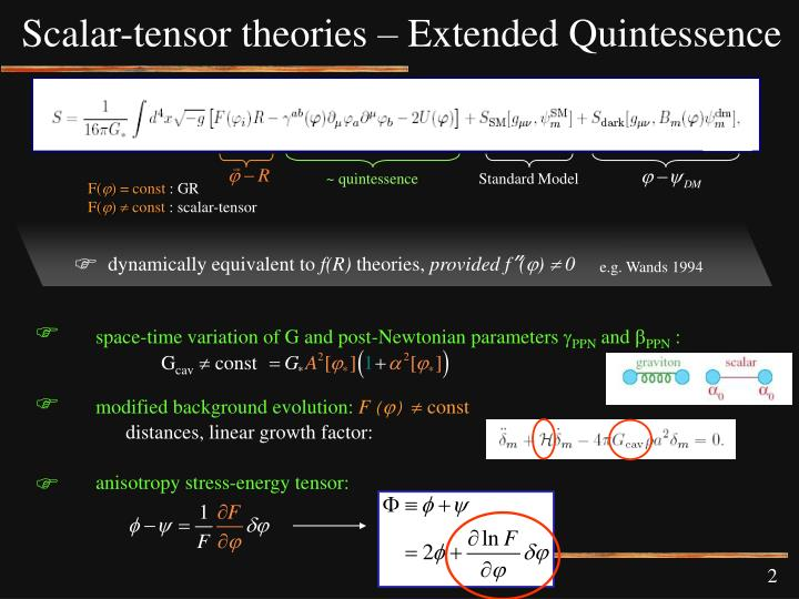 Scalar-tensor theories – Extended Quintessence