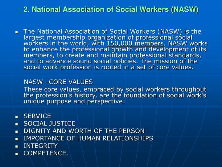 2. National Association of Social Workers (NASW)