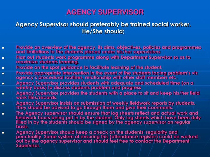AGENCY SUPERVISOR