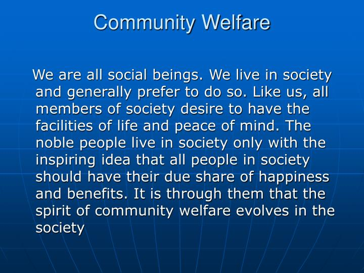 Community Welfare