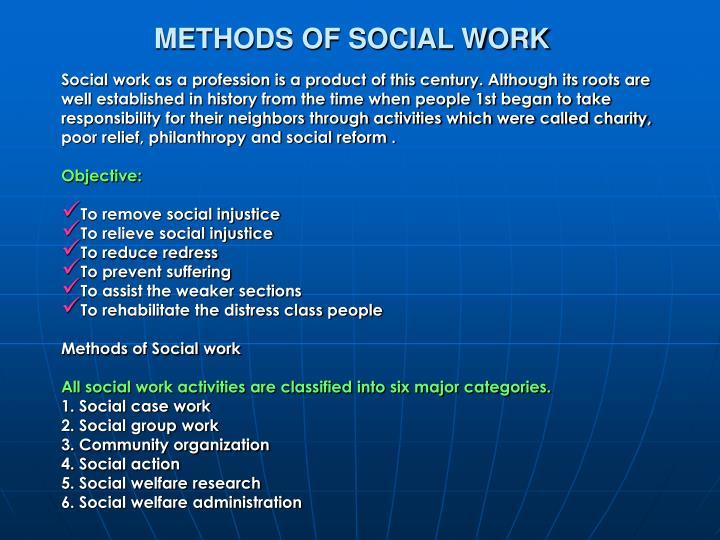 METHODS OF SOCIAL WORK