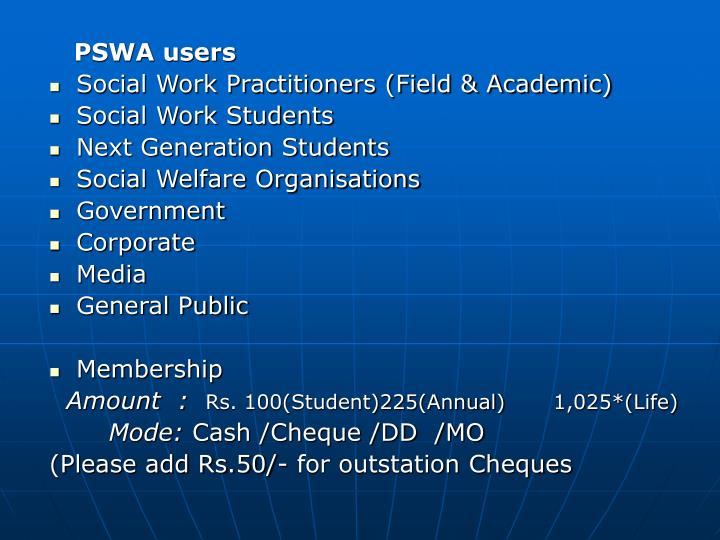 PSWA users