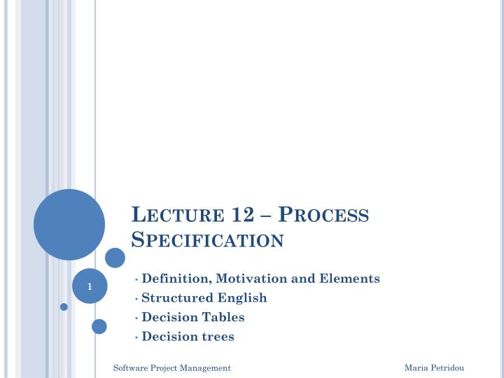 lecture 12 process specification n.