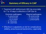 summary of efficacy in cap