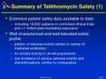 summary of telithromycin safety 1