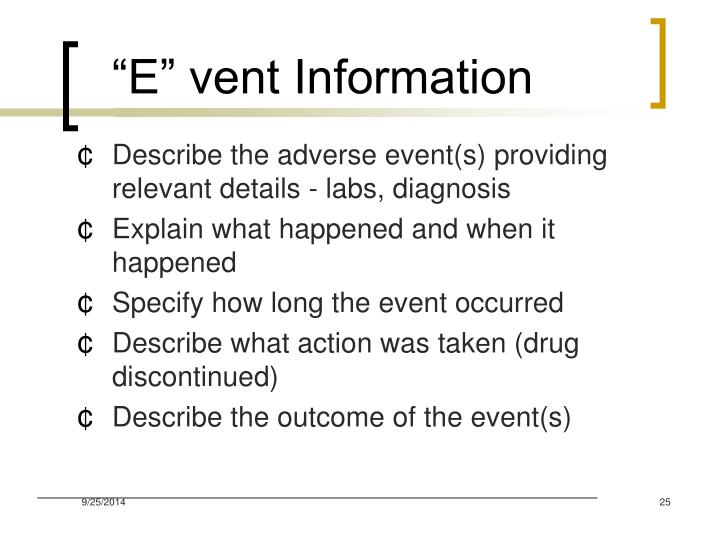 """E"" vent Information"