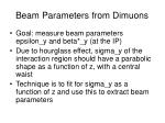 beam parameters from dimuons