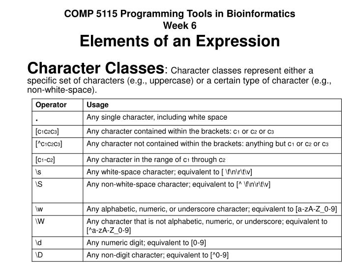 comp 5115 programming tools in bioinformatics week 6 elements of an expression n.