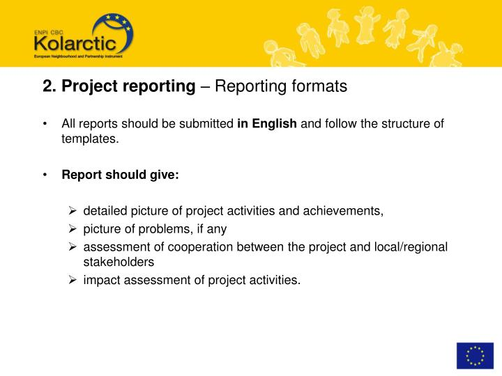 2. Project reporting