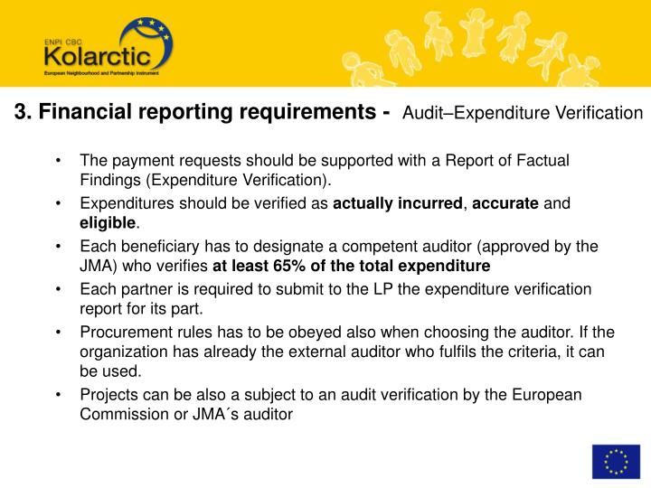 3. Financial reporting requirements -