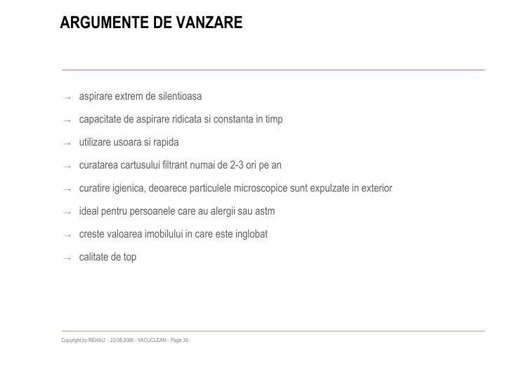 ARGUMENTE DE VANZARE