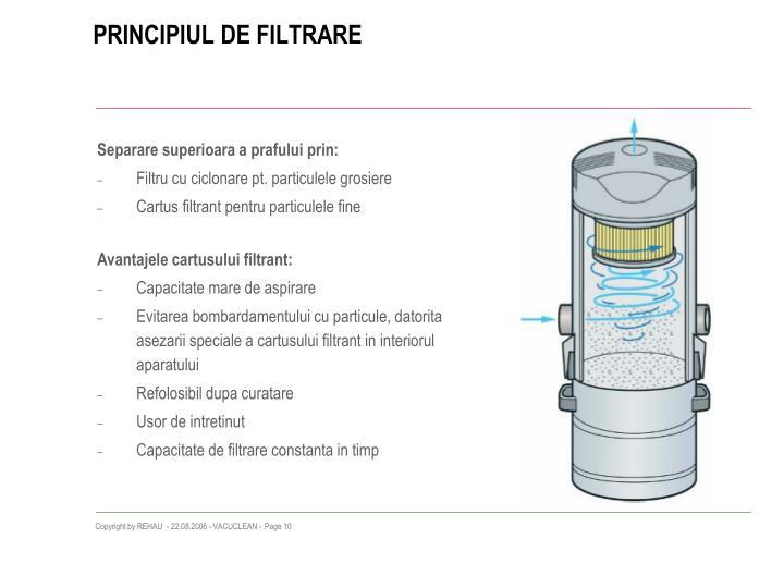 PRINCIPIUL DE FILTRARE