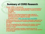 summary of cdrd research