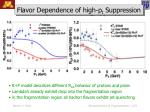 flavor dependence of high p t suppression