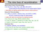 the nine lives of recombination