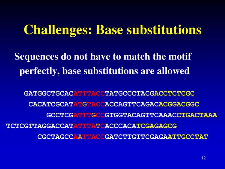 Challenges: Base substitutions
