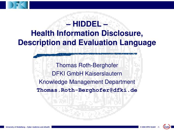 hiddel health information disclosure description and evaluation language n.