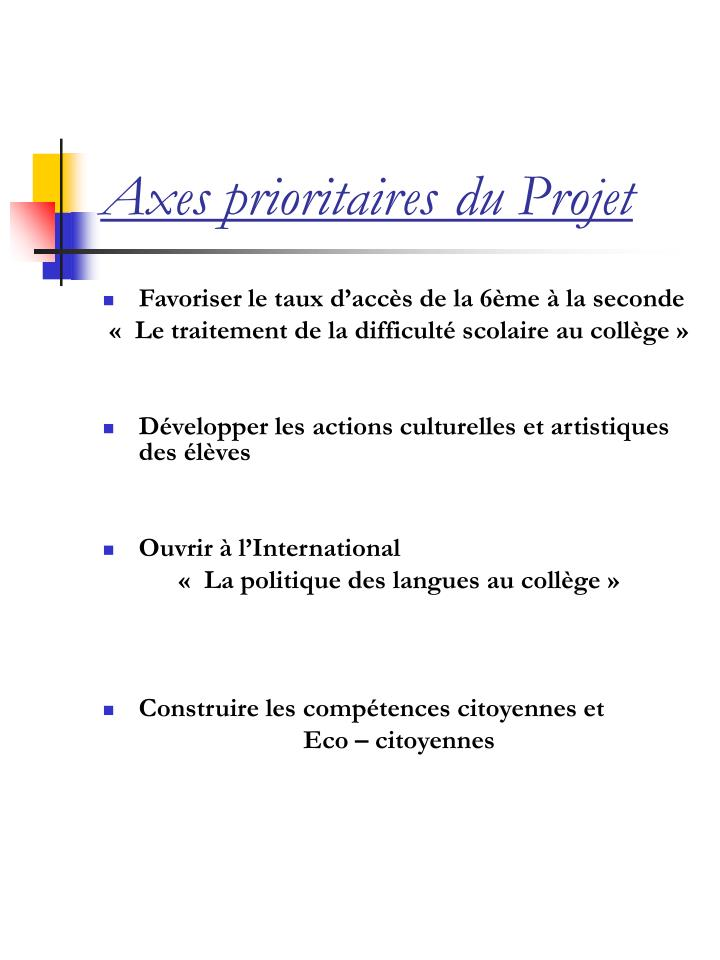 Axes prioritaires du projet