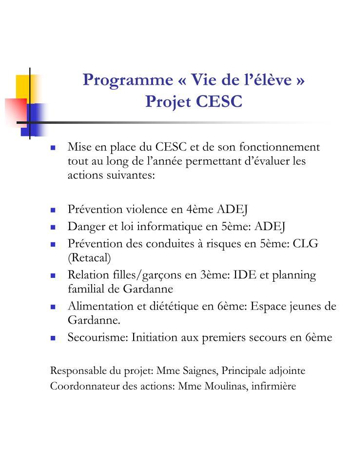 Programme « Vie de l'élève »