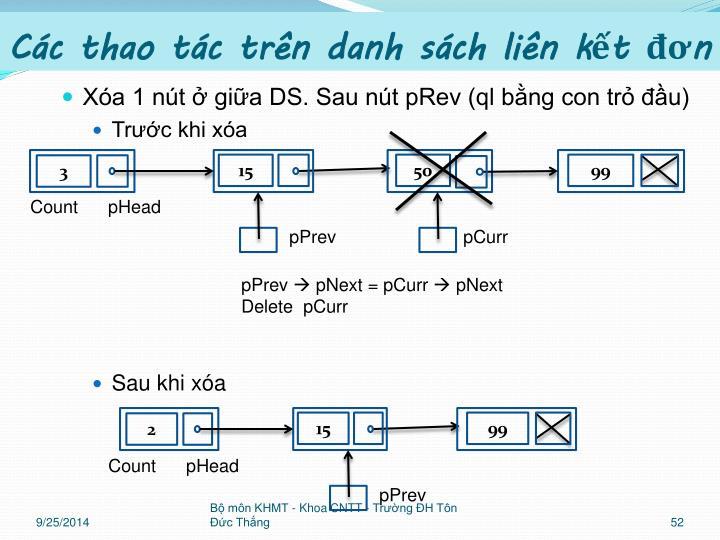 Xóa 1 nút ở giữa DS. Sau nút pRev (ql bằng con trỏ đầu)