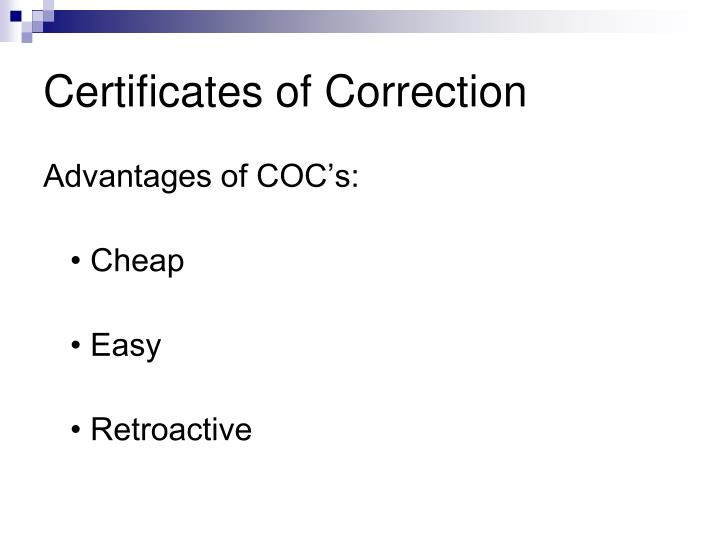Certificates of Correction