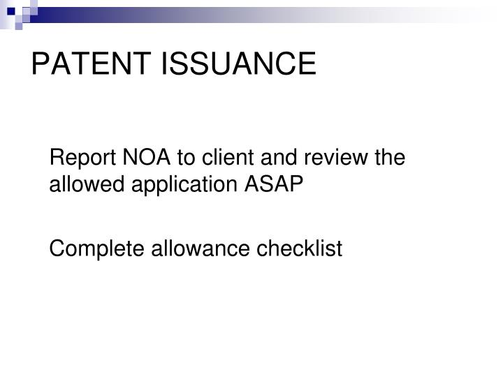 PATENT ISSUANCE