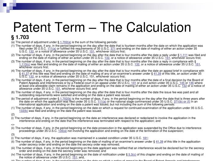Patent Term – The Calculation