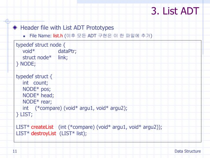 3. List ADT