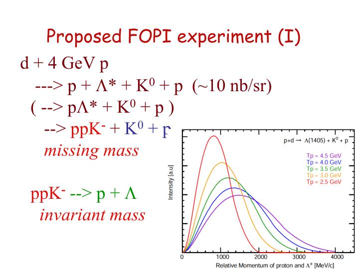 Proposed FOPI experiment (I)