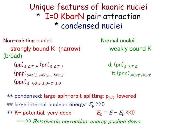 Unique features of kaonic nuclei i 0 kbarn pair attraction condensed nuclei