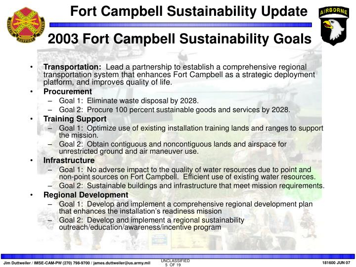 2003 Fort Campbell Sustainability Goals