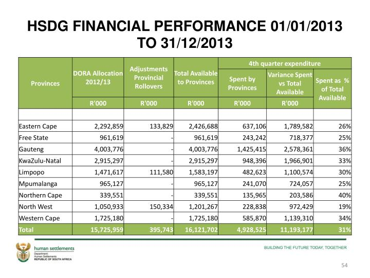 HSDG FINANCIAL PERFORMANCE 01/01/2013 TO 31/12/2013